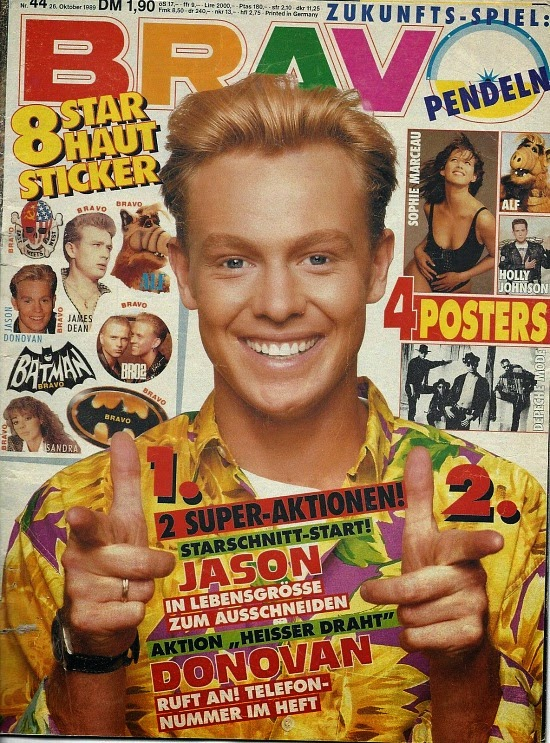 Jason Donovan on the cover of Bravo Magazine in 1980