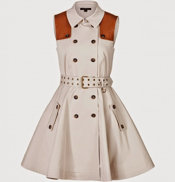 Stretch Cotton Trench Coat Dress
