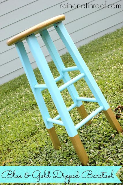 Blue & Gold Dipped Barstool {rainonatinroof.com} #gold #dipped #aqua #barstool #spraypaint