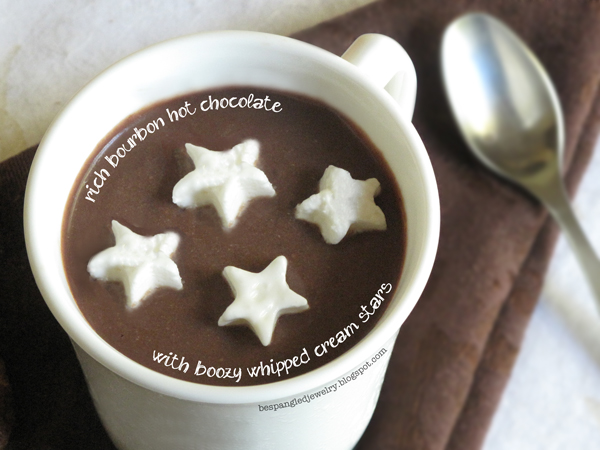 Rich hot chocolate with bourbon and boozy whipped cream recipe