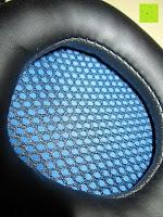 Muschel innen: LIHAO Sades SA-738 Spiel Kopfhörer Stereo USB Gaming Headset mit Mikrofon Blau LED Leuchte mit Sades Retail Geschenk Verpackung