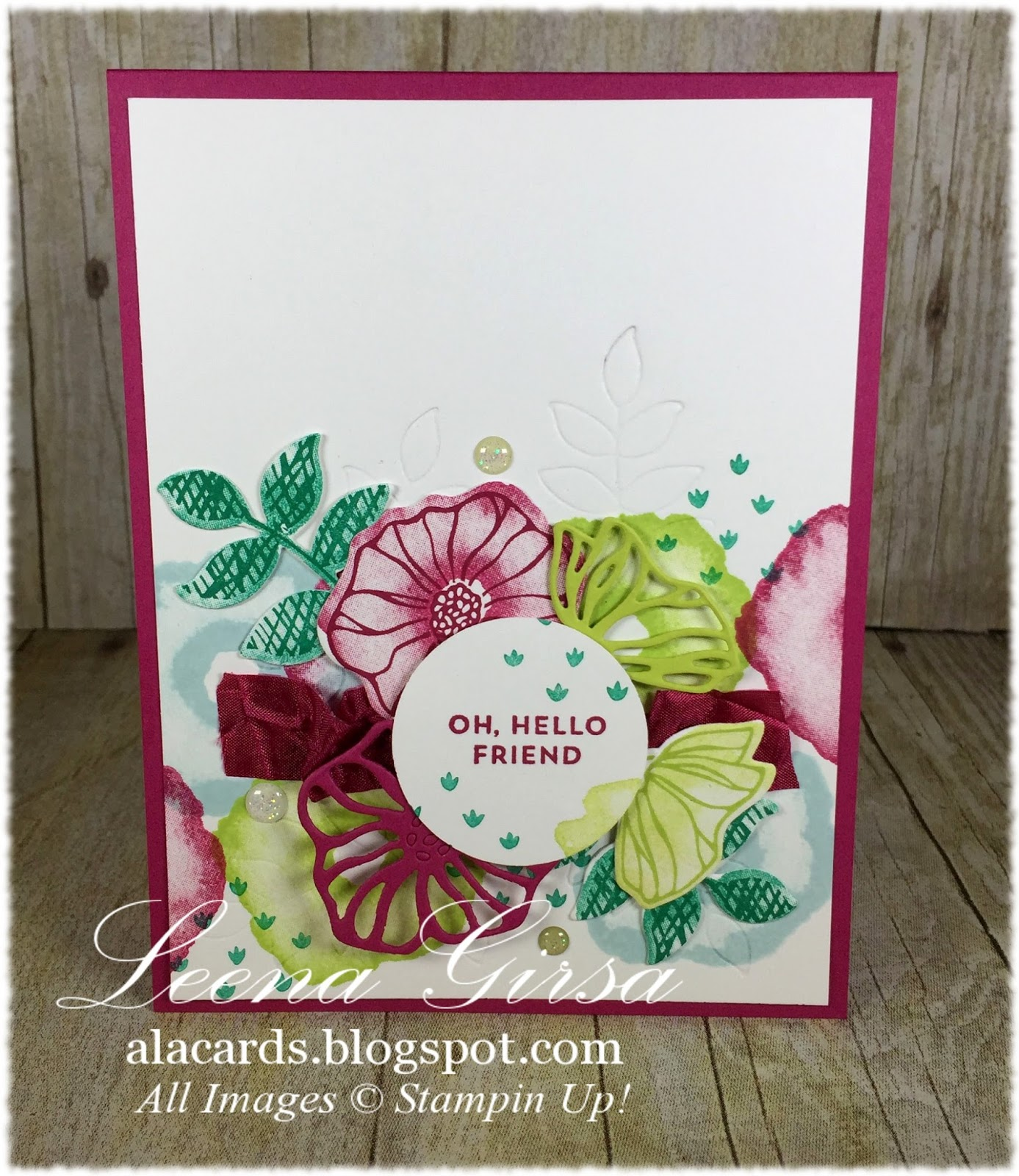 I Used Berry Burst For My Card Base And Then Incorporated Lemon Lime Twist,  Emerald Envy And Soft Sky In My Flowers And Leaves.