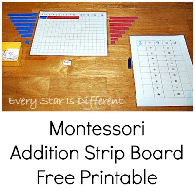 Montessori Addition Strip Board Free Printable