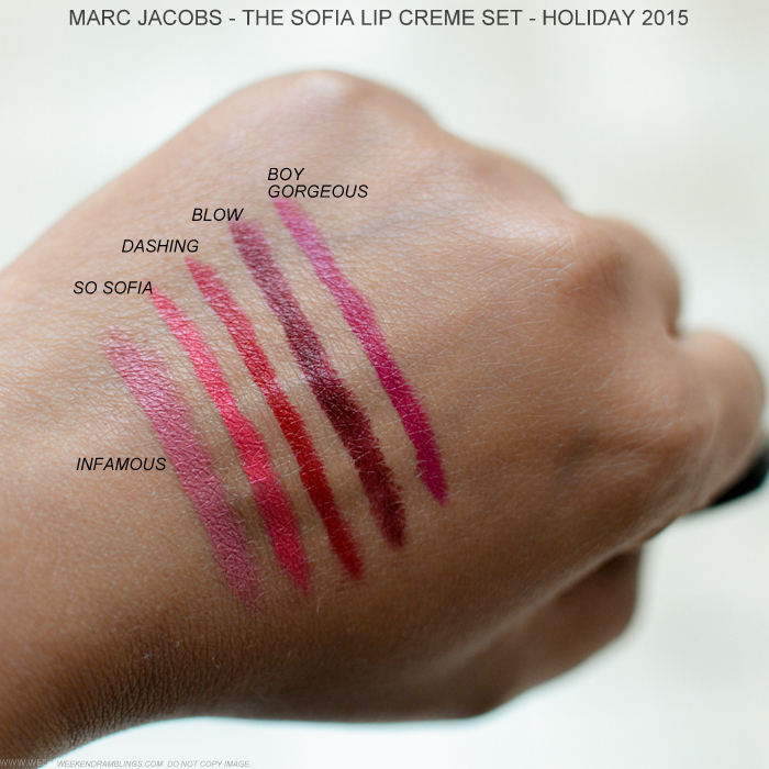 Marc Jacobs The Sofia Lipstick Set Swatches Infamous So Sofia Dashing Blow Boy Gorgeous Le Marc Lip Creme