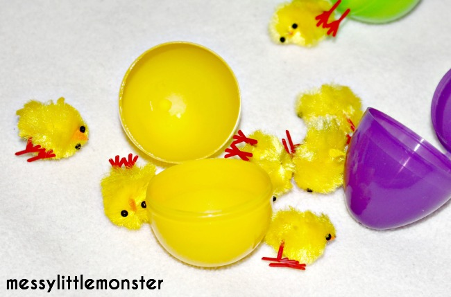 Plastic easter egg and chick activity for kids.
