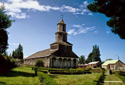Typical Church of Chiloé Island, southern Chile.