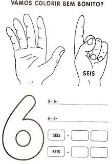 Numeral 6 escrever e colorir