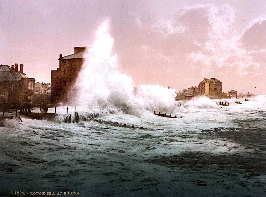 tinted postcard of rough sea at Bognor 1895