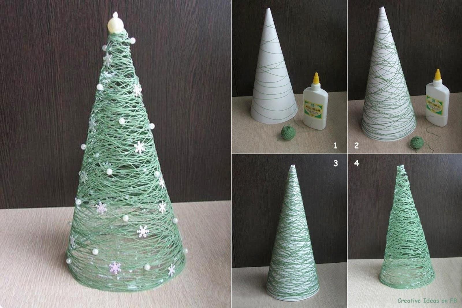 Muyvariadocom Arbol De Navidad Con Lana O Cuerda Manualidades - Arbol-de-navidad-artesanal