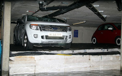 Η πιο απίθανη ζημιά σε αυτοκίνητα σε υπόγειο πάρκινγκ