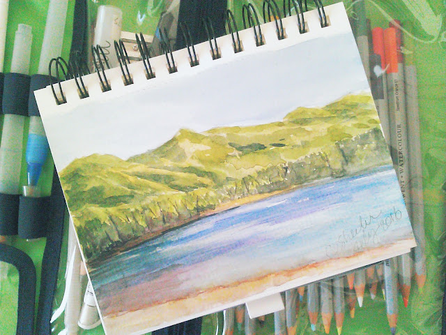 My watercolor sketch of the mountains and Lake McDonald July 2016.