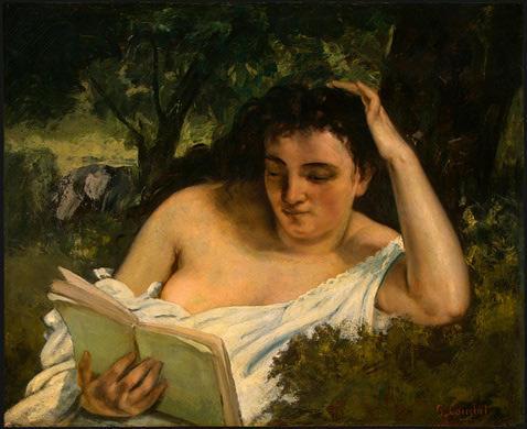 Жан Дезире Гюстав Курбе Jean Désiré Gustave Courbet Молодая женщина читает (1866-1868)