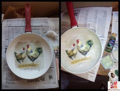 tunear una sartén con decoupage