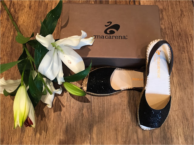My Midlife Fashion, The Womens Society, Macarena Playa Black Glitter Espadrilles