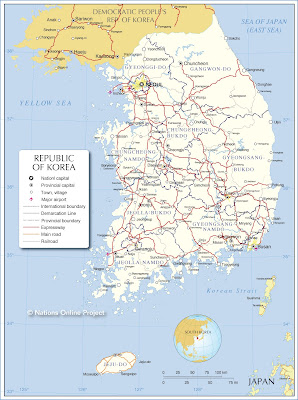แผนที่เกาหลี (Map of Korea)