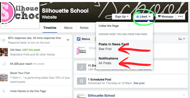 Silhouette School, Facebook, tips, settings