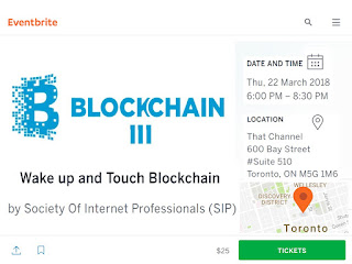 SIP Talks: Wake up and Touch Blockchain: March 22 at ThatChannel, Toronto