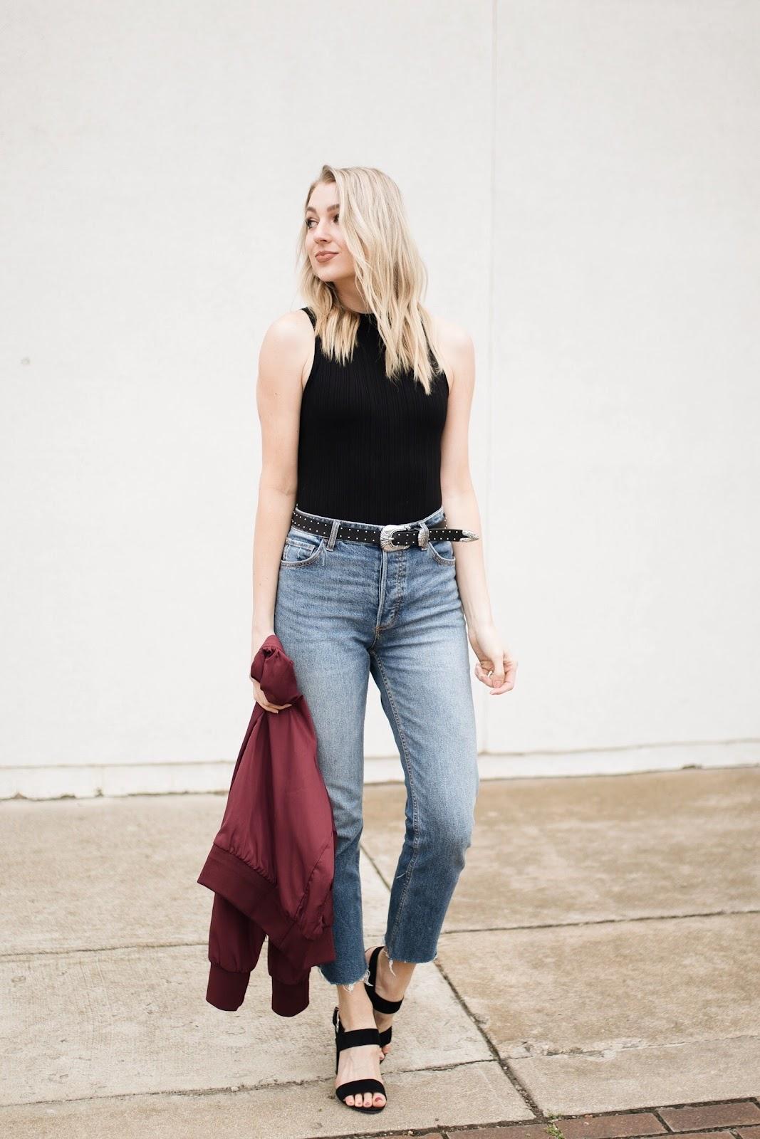 Raw hem girlfriend jeans