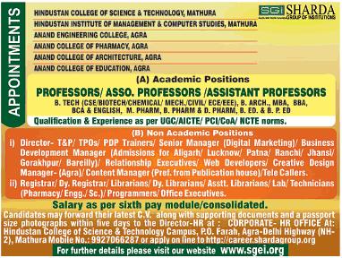 Sharadha SGI Biotech Faculty Jobs 2020 Ad image
