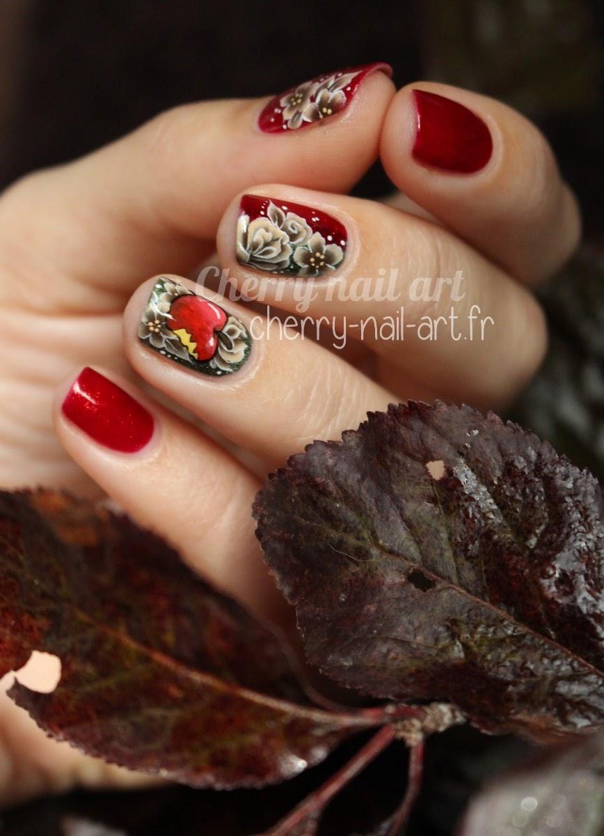 nail-art-fleurs-one-stroke-pomme
