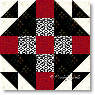 Mrs. Keller's Nine Patch quilt blockimage © Wendy Russell