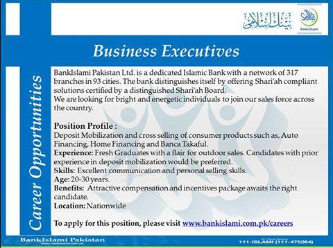 Business Executives Jobs in Bank Islami