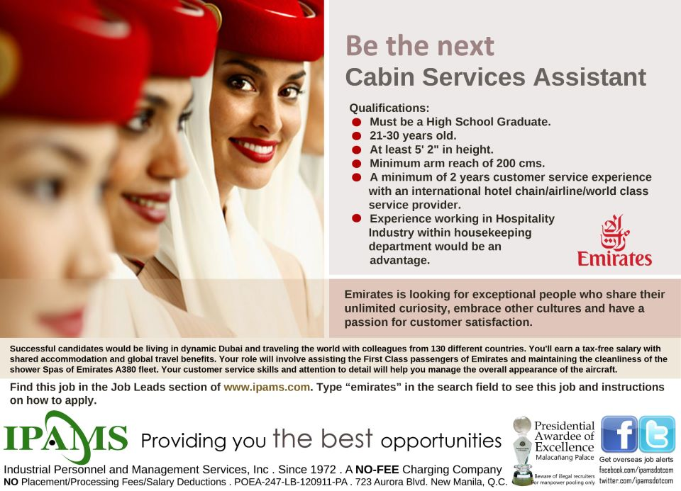 Trabahong Abroad Hiring For Flight Attendant Cabin