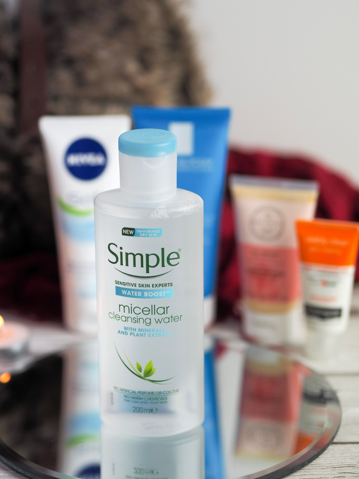 Simple micellar water on mirror plate