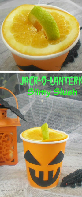 """Perfect drink for Halloween and an easy way to create a lantern """"lid & handle"""" ! (Adult version given as well) #Halloween"""