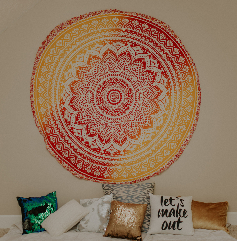 mandala, wall hanging, throw pillows