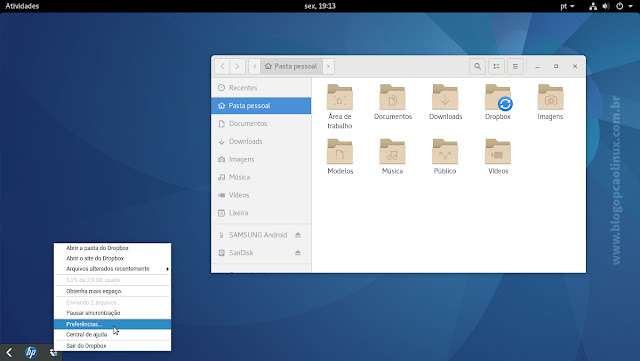 Ícone de status do Dropbox na barra de notificações do GNOME