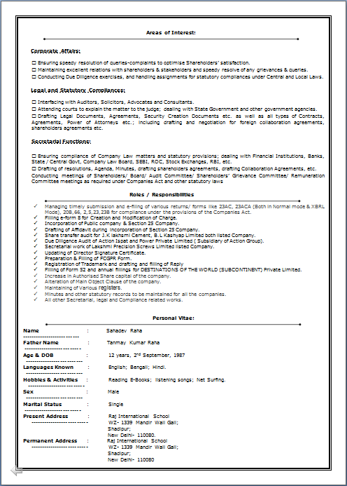 RESUME BLOG CO Excellent Resume Sample of ICSI Professional  LLB  MBA in Banking  Finance