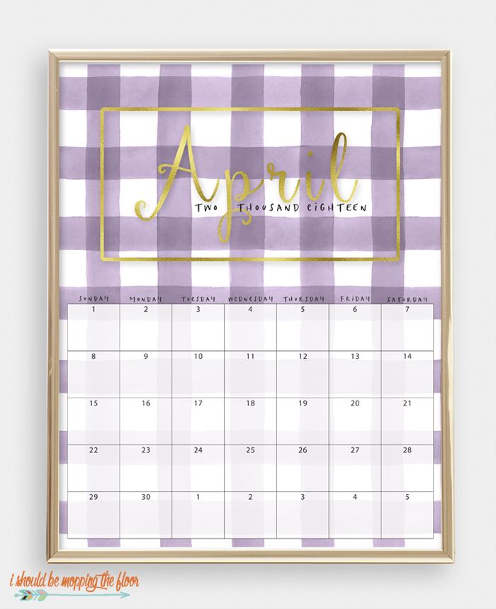 2018 Printable Watercolor Buffalo Check Calendar | 8x10 sizes | Gold Foil Lettering