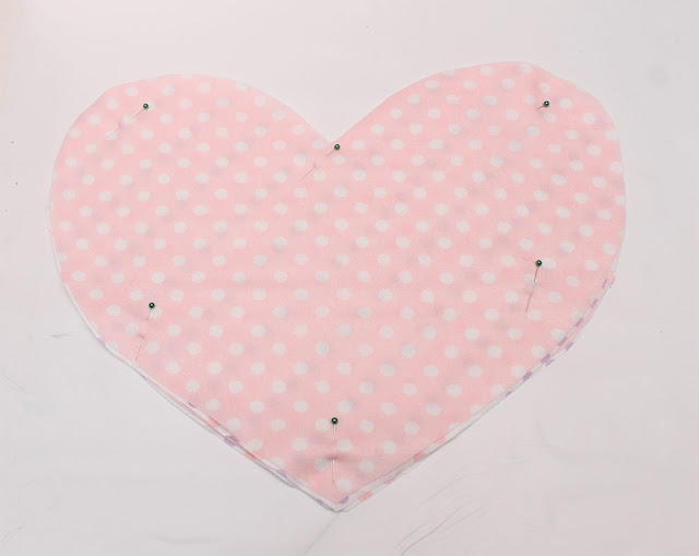 Fabric hearts pinned together