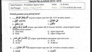 Soal Ujian Sekolah PAI Kelas 6 SD Tahun 2019