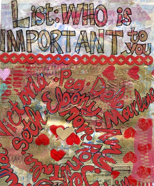 Art journal page | journal inspiration | http://schulmanart.blogspot.com/2014/07/art-journal-prompt-who-is-important-to.html