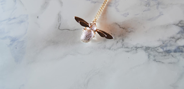 Alex Monroe Rose Gold Bee Necklace