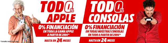 Mejores ofertas folleto Todo 0% Apple, todo 0% consolas de Media Markt