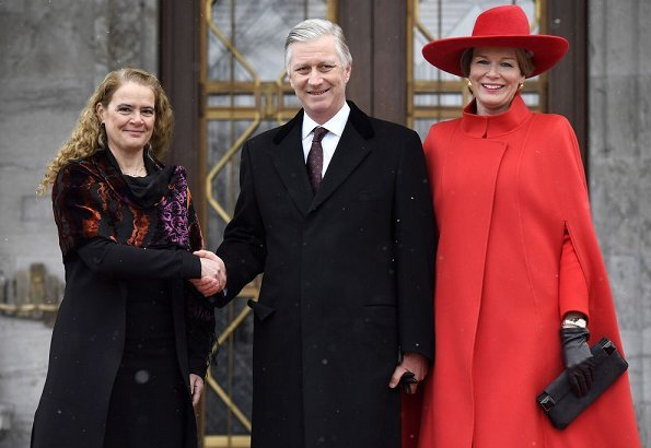 King Philippe and Queen Mathilde of Belgium are welcomed at Rideau Hall by Governor General Julie Payette