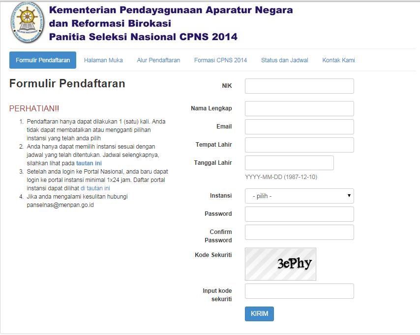 Formulir Registrasi Pendaftaran CPNS Online