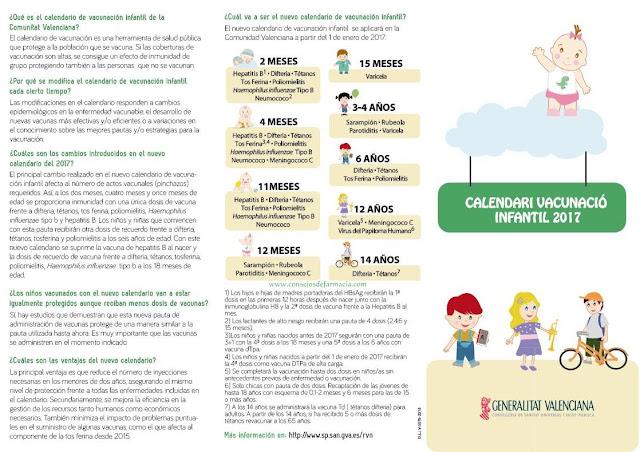 Tríptico informativo para padres - Calendario vacunación infantil 2017