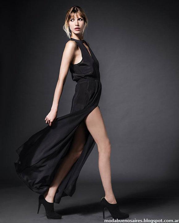 409a855b0 Vestido largo seda | Bota taco gamuza. Moda otoño invierno 2014 colección  Etiqueta Negra Mujer Argentina