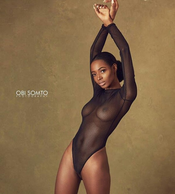 Photos: Stunning Nigerian model leaves nothing to the imagination in a completely see-through bodysuit