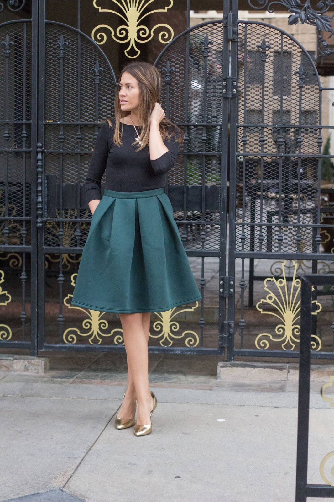 Holiday Green Midi Skirt by Colorado fashion blogger Eat Pray Wear Love
