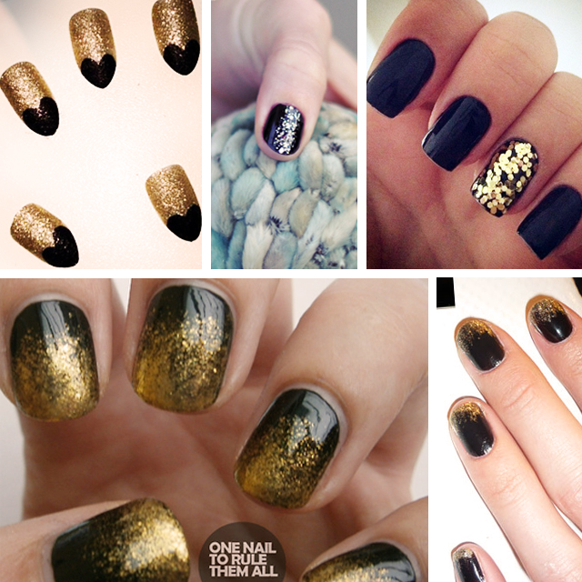 Nail Art Inspiration : Black & Gold Manicures