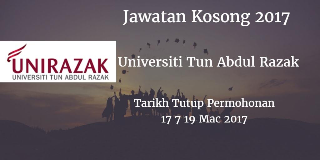 Jawatan Kosong UNIRAZAK 17 & 19 Mac 2017