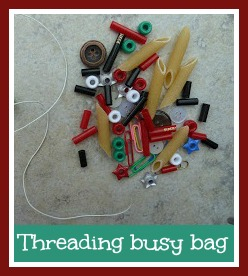 Threading busy bag for toddlers