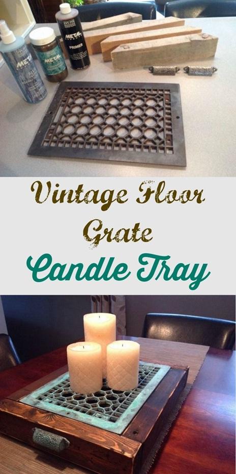 19. Buat nampan lilin (wadah lilin hias) dari floor grate bekas.