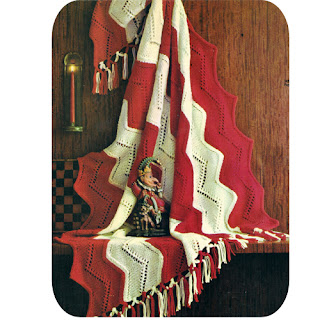 Fringed Red White Striped Panel Afghan Pattern