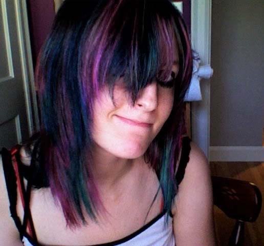 purple emo hairstyle celebrities